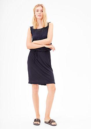 Jersey-Kleid aus Viskose mit Lochmuster-Passe