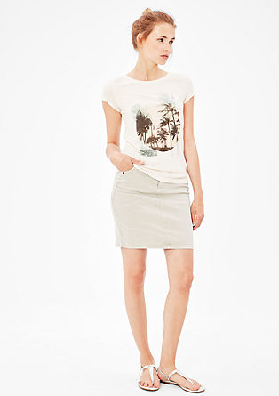 Printed linen blend T-shirt from s.Oliver