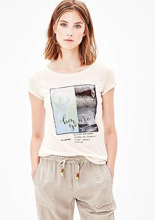 Printshirt aus Leinen-Mix