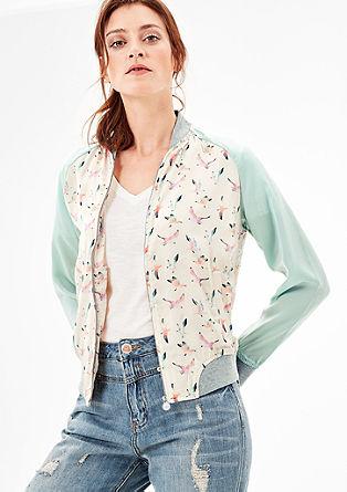Satenast bluzon z vzorčastim potiskom