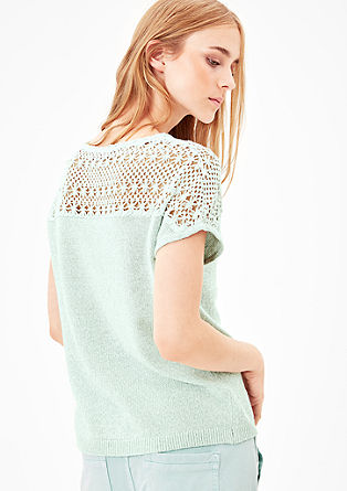 Linen jumper with crocheted insert from s.Oliver