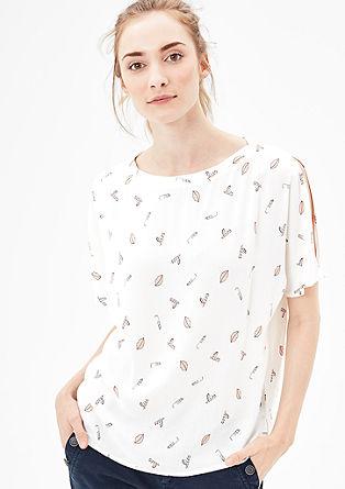 Cold Shoulder-Bluse mit Print