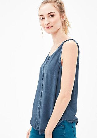 Bluza brez rokavov z naborki, barvana s posebnim postopkom pigmentiranja