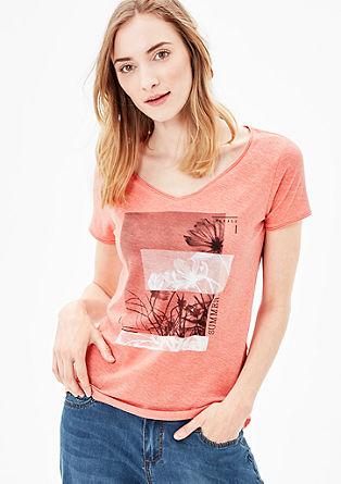 Majica iz plamenaste preje s tiskom spredaj