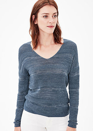 Fine knit jumper with mixed patterns from s.Oliver