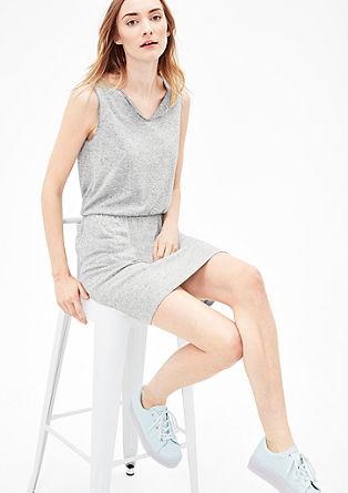 Obleka iz džersija s črtami v slogu melange