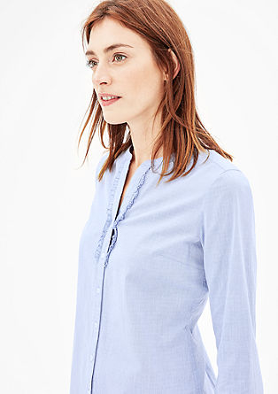 Chambray blouse met ruches