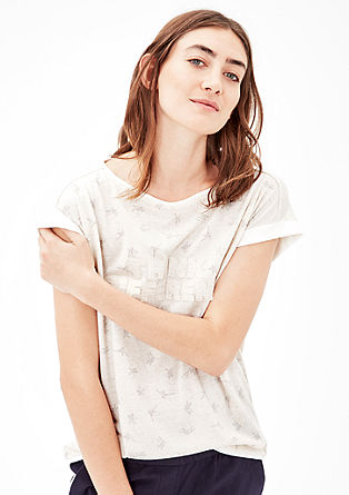 Patterned jersey top with linen from s.Oliver