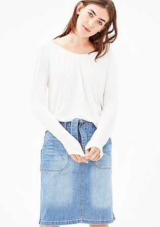Denim skirt with a tie-around belt from s.Oliver