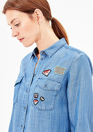 Jeansbluse mit Patches