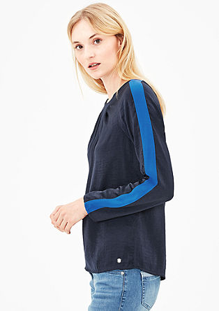 Silky blouse with contrasting stripes from s.Oliver