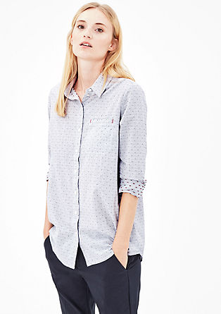 Gemusterte Bluse mit High-Low-Saum