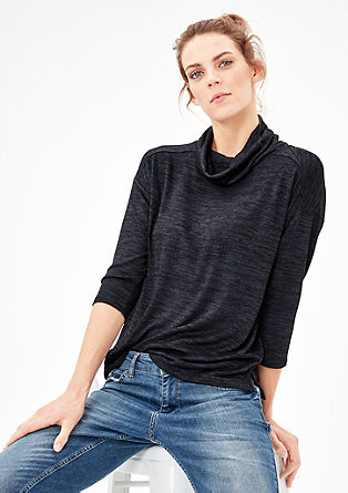 Melange top with a polo neck from s.Oliver