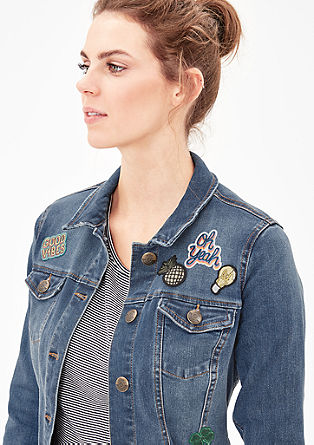 Stretch denim jacket with patches from s.Oliver