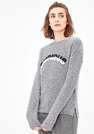 Melierter Pullover mit Stitching