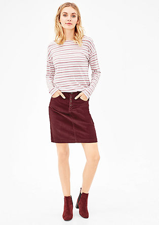 Corduroy skirt with a button placket from s.Oliver