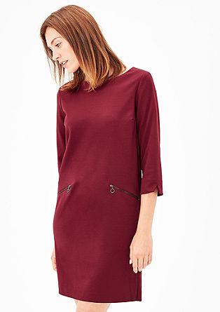 Crêpe-Kleid mit Zipper-Details
