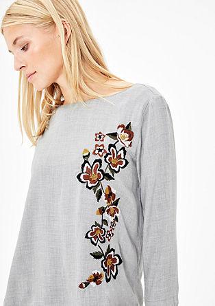 Bluse mit Blumen-Stickerei