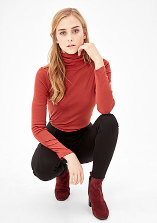 Ribbed polo neck top from s.Oliver