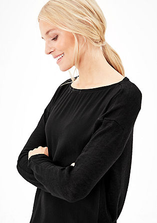 Langarmshirt mit Crêpe-Front