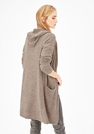 Long-Strickjacke mit Alpakawolle