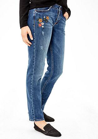 Shape Slim: jeans hlače s cvetlično vezenino