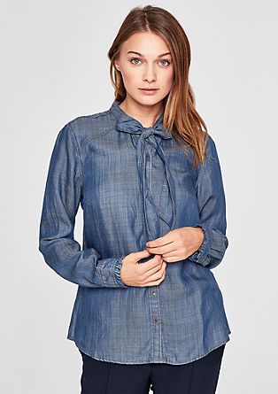 Denim blouse met striklint