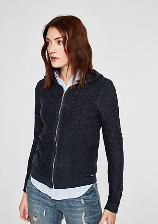 Bouclé cardigan with a zip from s.Oliver
