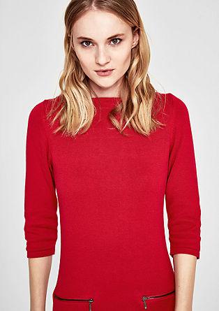 Obleka iz fine pletenine z žepom na zadrgo