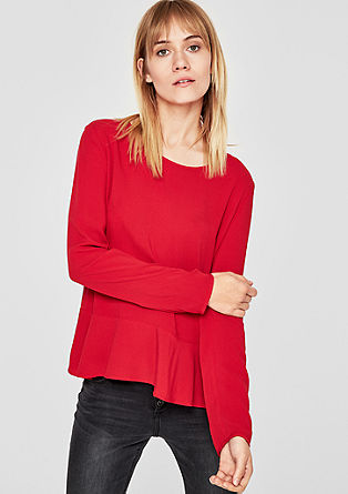 Textured blouse with a flounce hem from s.Oliver