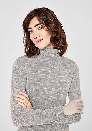 Majica s puli ovratnikom in svetlečo nitjo
