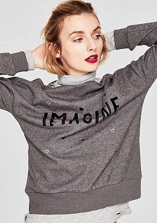 Trend-Sweater mit Glitzer-Wording