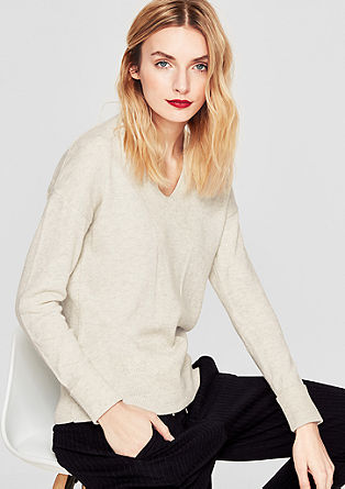 Textured knit jumper with a V-neckline from s.Oliver