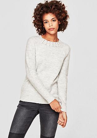 Pleten pulover z okrasnimi kamenčki