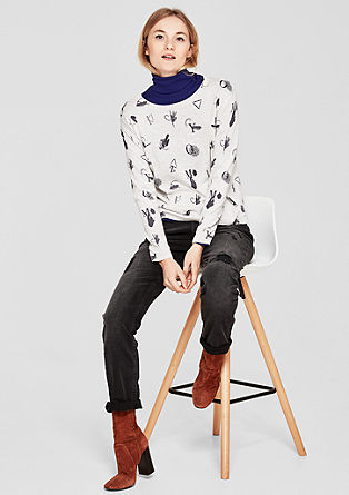 Soft fine knit jumper with print from s.Oliver