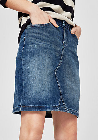 Denim skirt with stylish darts from s.Oliver