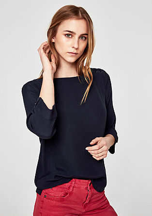 Crêpe blouse with lacing detail