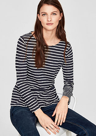 Striped top with a flounce hem from s.Oliver