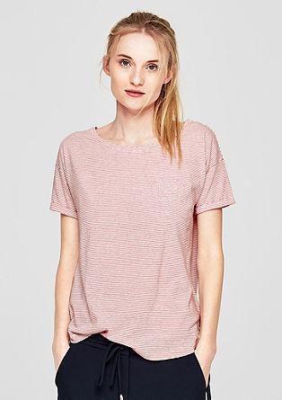 Gestreept shirt met glinsterend borduursel