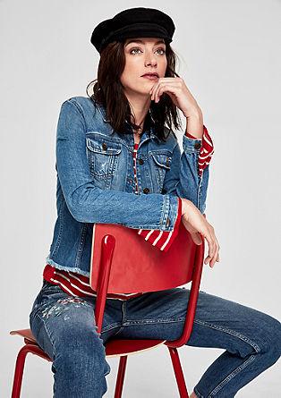 Jeans jakna z resastim robom