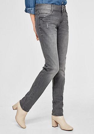 Shape slim: jeans met slijtageplekken