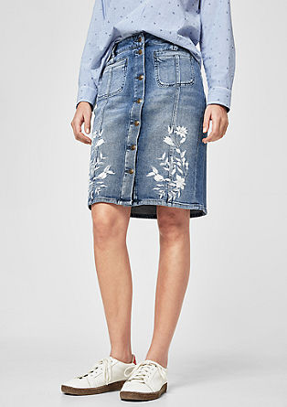 Denim skirt with embroidery from s.Oliver