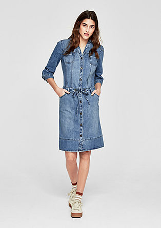 Jeans obleka z vodilom v pasu