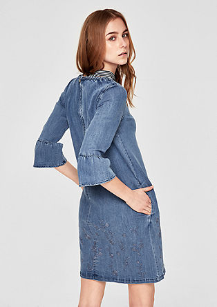 Embroidered denim dress with flounces from s.Oliver