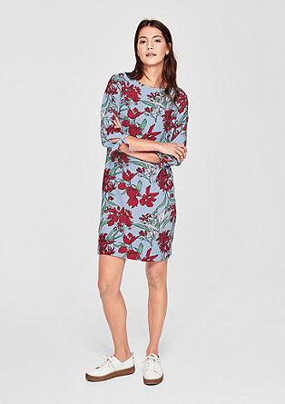 Krep obleka s cvetličnim potiskom