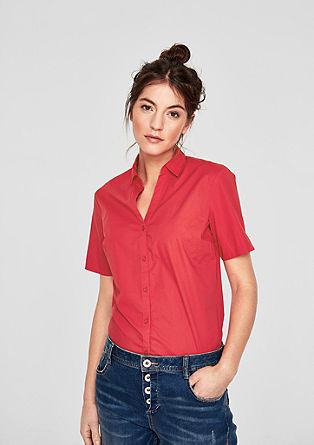 Katoenen blouse met korte mouwen en stretch
