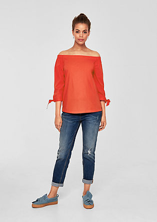 Off-the-shoulder poplin blouse from s.Oliver