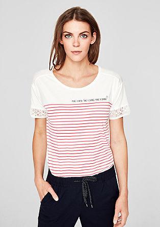 Žerzejové tričko sháčkovanou krajkou