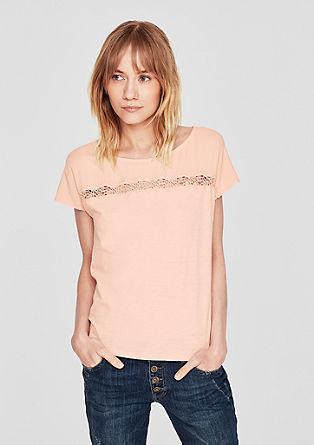 Tričko ze směsi textur s ozdobným lemem