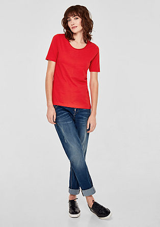 Crew neck T-shirt with a rolled edge from s.Oliver